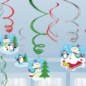 Joyful Snowman Christmas Party Hanging Swirl Decorations x 12