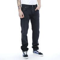 Nudie Herren Regular Tapered Fit Jeans Schwarz - Steady Eddie Black Darkness