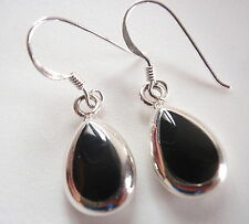 Reversible Black Onyx Mother of Pearl 925 Sterling Silver Teardrop Earrings