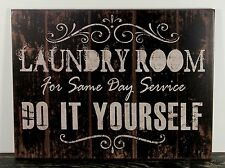 PRIMITIVE RUSTIC COUNTRY BLACK WOOD LAUNDRY SIGN HANDMADE HOME WALL DECOR 1327