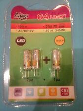 3 X G4 2W PIN Lampada Lampadina 24 LED 3014 SMD Bianco/Caldo 3200 K  AC / DC 12V