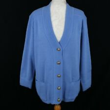 RIDDELLA Acrylic Wool Blend Chunky Cardigan 12 14 Blue Gold Button Casual Autumn