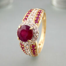 Ring Rubinen + weißen Saphiren 585/14k Gelbgold