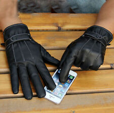 New Fashion Black Men's 3-Lines Winter Warm TOUCH SCREEN Gloves PU Leather