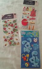 Lot of 3 New Packs 3D Blue's Clues, BBQ Food Grilling, Lady Bugs Stickers