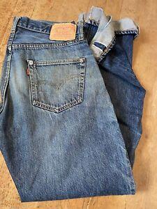 LVC Levis 501XX USA Jeans 555 Valencia Redline Selvedge Repro Distressed 34x36