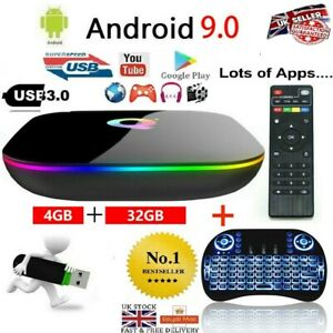 Q-Box Plus Quad Core 4GB+32GB Android 9.0 TV Box HD Smart Media Player  KEYBOARD
