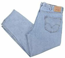 Levis 550 Blue Jean 42x30 Relaxed Tapered Light Stonewashed Cotton Denim Zipper