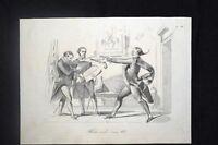 Incisione d'allegoria e satira Vincenzo Gioberti, Politici Roma Don Pirlone 1851