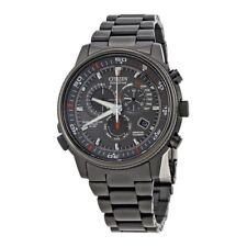Citizen Eco-Drive Mens Nighthawk Flight Chronograph Black Ion Watch AT4117-56H