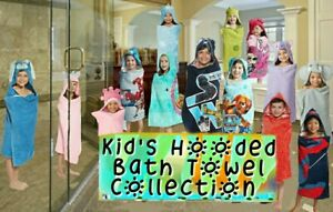 Kid's Themed Hooded Towel / Bath Wraps. Cotton, Machine Washable. New in Package