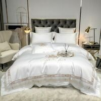 Luxury Soft Satin Silk  Embroidery Bedding Set Duvet Cover Set Bed Fitted Sheet