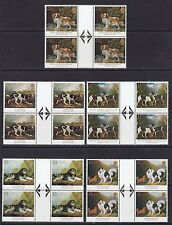GB 1991 SG1531-35 DOGS PAINTINGS SET OF ARROW GUTTER BLOCKS MNH