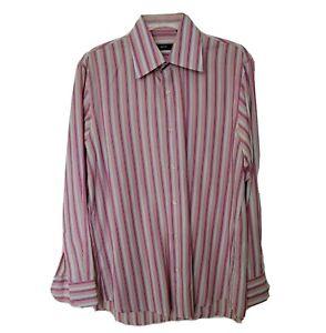 BOSS Hugo Boss Mens Dress Shirt Pink Red White Stripes 15-1/2 Neck 32/33 Sleeve
