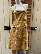 More details for vintage orange yellow green floral tie waist full apron