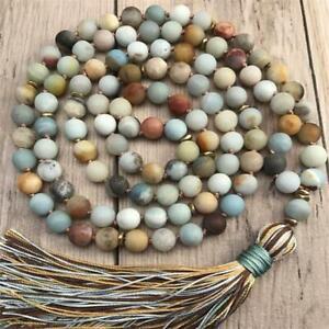 8mm Frosted Amazonite Gemstone Knot Mala necklace 108 Beads Lucky Buddhism