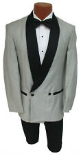 Men's Silver Raffinati Double Breasted Tuxedo Jacket with Black Satin Lapels 52R
