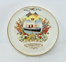 1890s Cunard Line CAMPANIA & LUCANIA Souvenir Plate w/ Colorful Graphics