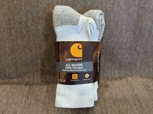 Carhartt ~ Men's 2-Pair All Season Steel Toe Boot Socks White Cotton Blend ~ M
