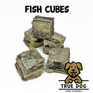 True Dog Fish Skin Cubes - 100% Fish Jerky - Natural Dog Chew Treat - UK Made