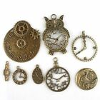 8x Vintage Bronze Tone 8 Assorted Design Watch Clock Charms Alloy Pendants BS