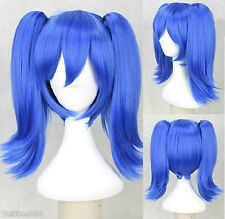 Blue Straight Medium Pigtail Ponytail Women's Cosplay Anime Hair Wig Wigs + Cap