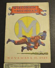 UNIVERISTY OF MICHIGAN PROGRAM vs WISCONSIN Nov 18, 1922 ORIGIONAL** U of M