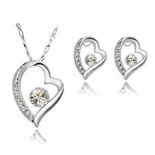 Diamante White Hearts Crystal Bridal Jewellery Set Stud Earrings & Necklace S396
