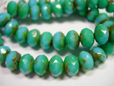 25 8x6mm  Opaque Blue Green Blend Picasso Czech Fire polished Rondelle beads