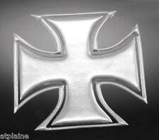 Sticker relief 3D MALTESE CROSS chromé (2) - Style BIKER HARLEY