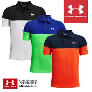 Under Armour Junior Boys Performance Blocked Golf Polo Shirt - NEW! 2021