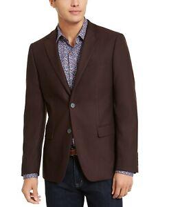 $295 Calvin Klein Skinny-Fit Stretch Textured Burgundy Sport Coat 42R 42 NEW