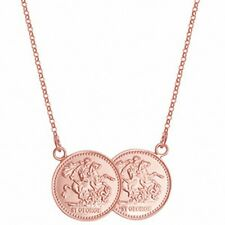 """Half Sovereign Necklace Solid Sterling Silver Rose Gold Plated Pendant 17 """""""