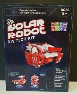 STEM Tech Kit Solar Robot DIY Ages 8+ Assemble 3 in 1 No Batteries!