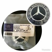 Mercedes-Benz Black Wreath Flat Bonnet Badge Emblem A2048170616 NEW 57mm