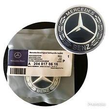 Mercedes-Benz Black Wreath Flat Bonnet Badge Emblem A2048170616 NEW 57mm