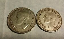 Lot of 2 Canadian Silver 50 Cents: 1940 & 1952 $1 face value 80%