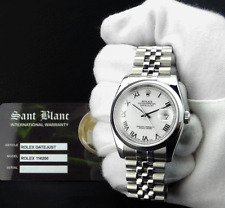 ROLEX Stainless Steel DateJust White Roman Dial Jubilee Band 116200 SANT BLANC