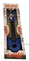 Toy Guitar Metal 3 String Acoustic Kids Ukulele With Guitar Blue