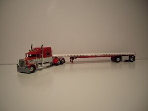 DCP FIRST GEAR 1/64  RED & WHITE PETE 389 W/T 70'' SLEEPER&SPREAD AXLE FLATBED