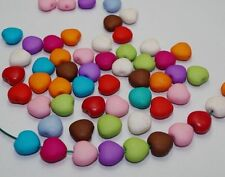 100Pcs Solid color matte Acrylic Beads Heart-shaped DIY Spacer beads 12mm DF733