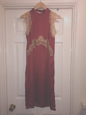 ASOS Red faux silk red DRESS! vintage boho look mid length