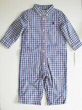Ralph Lauren Baby Boys Plaid Jersey Lined Coverall Blue Multi Sz 12M - NWT
