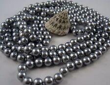 Extra Larga Collar de perlas Art Deco Estilo anudado 168 170 cm Plata brillante