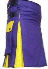 Scottish Utility Kilt Highland Purple&Yellow 100%Cotton Unisex Adult Custom Made
