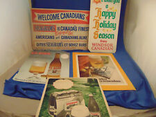 Vintage Imported beer signs 5 cardboard colorful bar Canadians Seagrams Heineken