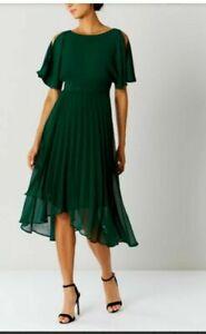 Coast Hermione Pleat Forest Green Midi Dress UK 12 LN100 NN 13