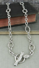 Judith Ripka Sterling Textured Oval Link Necklace w Diamonique & Onyx Toggle