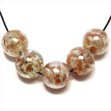 Lot de 10 Perles Rondes en Verre Lampwork Feuille d Or 14mm Blanc