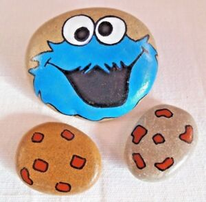 Hand painted rocks, stones, pebbles. Pebble art. Cookie monster fridge magnets.